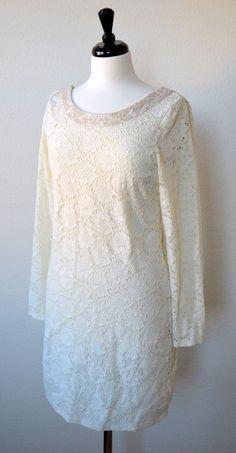 Denim Supply L Ralph Lauren Long Sleeve Lace Dress Bodycon Ivory Cream $125 | eBay
