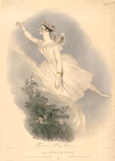 """Lithograph (1836), drawn by Alfred Edward Chalon (1780-1860), lithographed by Richard Lane (1800-1872), of Marie Taglioni, Comtesse de Voisins (1804-1884), as La Sylphide, in La Sylphide (1832), by Jean-Madeleine Schneitzhoeffer (1788-1852). Published in """"Recollections of the Italian Opera in 1835""""."""