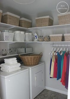 The laundry room is often an overlooked and overworked room in the home. It needs to be functional of course, but what about beautiful? Whether you have a small laundry closet or tiny laundry room, your laundry area can be… Continue Reading → Laundry Room Shelves, Laundry Room Remodel, Basement Laundry, Small Laundry Rooms, Laundry Closet, Laundry Room Organization, Laundry Room Storage, Laundry Room Design, Laundry In Bathroom
