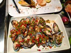 Mussels or Mejillones a la Vinaigrette. Latin American Night.