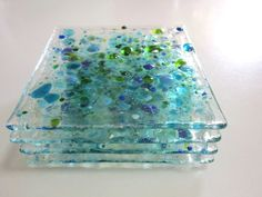 Coasters Deep Sea Color On Clear Glass Slumped Glass, Fused Glass Art, Dichroic Glass, Stained Glass, My Glass, Clear Glass, Glass Vase, Glass Ceramic, Mosaic Glass