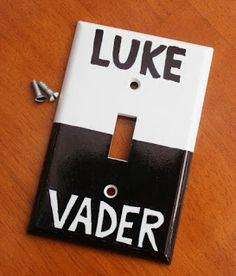 When I get my house, I'm going to have a Star Wars room, for all my Star Wars stuff. And this will be my Star Wars light switch. Because Star Wars. Star Wars Zimmer, Theme Star Wars, Star Wars Bedroom, Nerd Bedroom, Bedroom Ideas, Master Bedroom, Star Wars Light, Star Wars Crafts, Ideias Diy