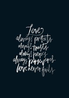 Love Never Fails - original print from The Worship Project. 1 Corinthians 13:7-8