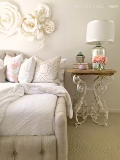 Decorating a white bedroom with a unique rustic wood and iron side table from @homegoods adds texture and detail.  We adore this piece in my daughter's new shabby chic bedroom... {Sponsored Pin}
