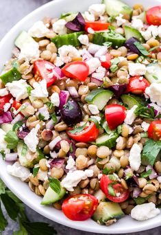This Mediterranean Lentil Salad is a hearty salad that's perfect for lunch or a vegetarian main dish. Full of cucumbers, tomatoes, olives, feta and lentils. Skip honey and feta Vegetarian Main Dishes, Vegetarian Recipes, Cooking Recipes, Healthy Recipes, Veg Recipes, Crockpot Recipes, Mediterranean Salad Recipe, Lentil Salad Recipes, Vegetarian