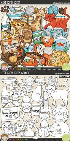 Cat digital scrapbooking elements. Cute kitty time clip art. Hand-drawn illustrations for digital scrapbooking, crafting and teaching resources from Kate Hadfield Designs! Here Kitty Kitty.