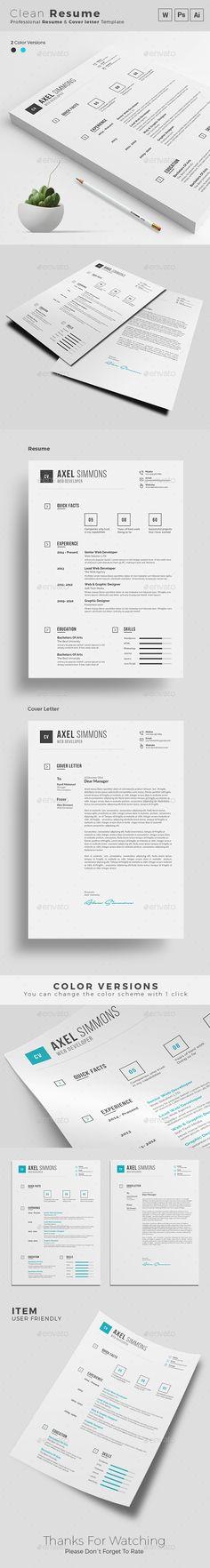 Clean Resume CV, #Cover letter, #ResumeDownload here   - clean resume design
