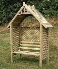The Valencia Wooden Garden Arbour by Grange is a charming garden Arbour hut with attractive trellises on either side and at the rear of the bench. #Arch #Arbour #Gardening #Garden #Grange (Click on the picture to view Gardensite.co.uk)