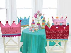 cute birthday chair covers-  Amy we could do this out of felt for Pinkalicious!  Pirate hats for Luke?