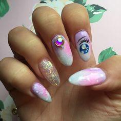 Sailor Moon transformation inspired nails