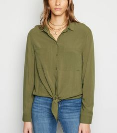 Khaki Tie Front Long Sleeve Shirt New Look Teaching Outfits, Tied Shirt, Celebrity Names, Cuff Sleeves, Black Tie, Flare Jeans, New Look, Latest Trends, Fitness Models