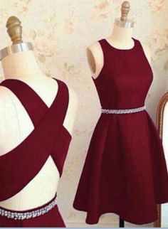 Stylish A-Line Jewel Sleeveless Burgundy Short, #Short Homecoming Dress #HomecomingDresses #Short PromDresses #Short CocktailDresses #HomecomingDresses