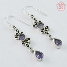 AMAZING DESIGN  AMETHYST STONE 925 SOLID STERLING SILVER EARRINGS #SilvexImagesIndiaPvtLtd #DropDangle