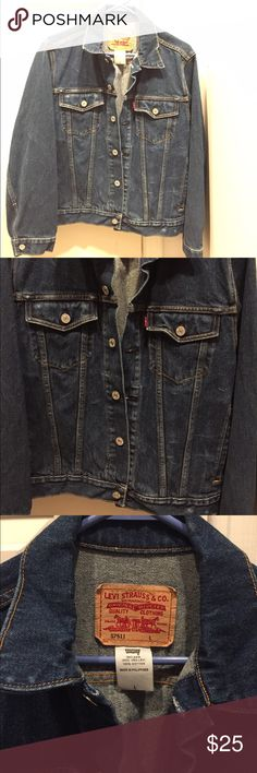 Levi Strauss Jean jacket It is slightly distressed and has a dark wash to it. Levi's Jackets & Coats Jean Jackets