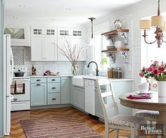 Some patterned wall and floor coverings add visual clutter that makes a space feel smaller, but certain patterns have the opposite effect. Oversize diamonds or chevrons create diagonal lines that draw the eyes from one side of the room to the other, making it feel wider than it really is. Combine this technique with low-contrast colors for big results in a small kitchen./