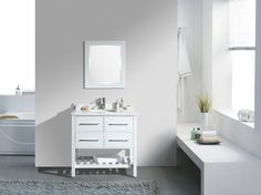 """Eviva Natalie F.® 36"""" White Bathroom Vanity with White Carrera Marble Counter-top & White Porcelain Sink"""