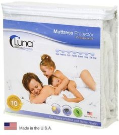 Queen Size Luna Premium Hypoallergenic 100% Waterproof Mattress Protector - 10 Year Warranty - Made In The USA by Luna Mattress Protectors, http://www.amazon.com/dp/B002AQNXR4/ref=cm_sw_r_pi_dp_aDCurb1X36HF1