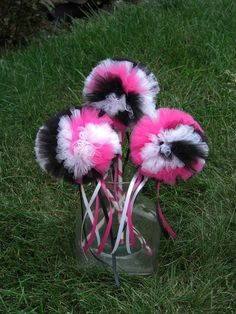 Hot Pink Zebra Poof Wand-- Tulle Wand- Poof Wand- Hot Pink, Black, and White Wand