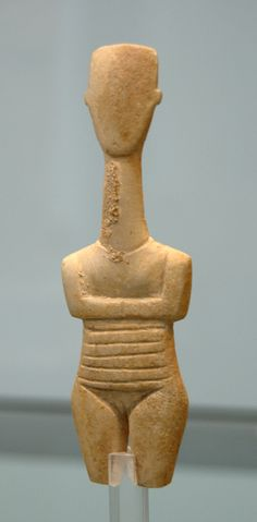 CYCLADIC FIGURE - Early Mediterranean world Bronze Age, one of a famous unique group of figures  found only on the on the Cycladic Islands, thought to be an Idol of Pregnant Woman