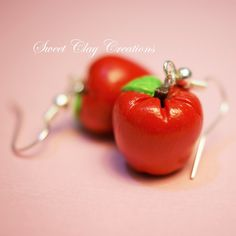 Polymer Clay Handmade Earrings Red Apple Miniature Food Jewelry by Sweet Clay Creations