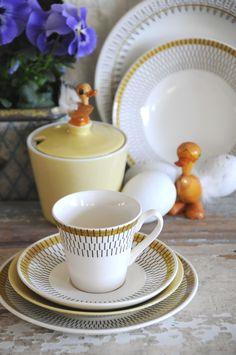 Stavangerflint Norway - BALI Coffee trio with stripe decor. Kitchenware, Tableware, Stavanger, Norway, Mid-century Modern, Bali, Mid Century, Coffee, Handmade Gifts