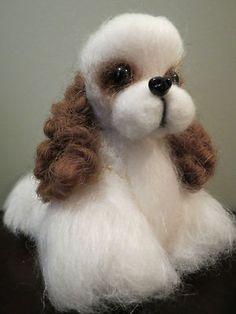 Ooak needle felted artist handmade Cocker Spaniel puppy dog wool sculpture