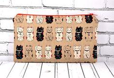 Lucky Cat Pencil Case Maneki Neko Cat Bag by TheCuriousNeedle
