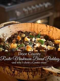 Rustic Mushroom Bread Pudding | Parisienne Farmgirl Country Bread, Rustic Bread, Chopped Cheese, Savory Bread Puddings, Bread Bowls, Door County, Pudding Recipes, Winter Food, Kitchen Recipes