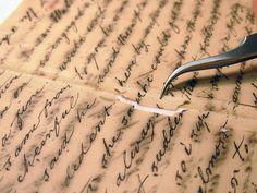 Louisa Whitman manuscript, during treatment by Duke University Libraries, via Flickr