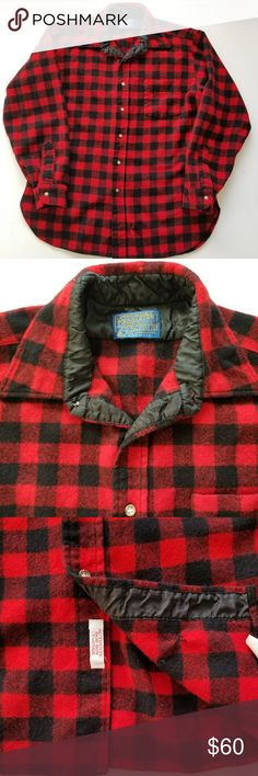 Pendleton Wool plaid shirt size L Rob Roy Tartan Great condition lots of wear left   A few tiny holes too tiny to sew shut see pics and small holes have been sewn closed see pics Pendleton Shirts Tees - Long Sleeve