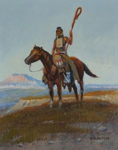 Lot 153: W.S. Seltzer o/c Native American on horseback. Estimate: $1500-$2500.
