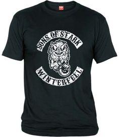 """Camiseta de Sons of Stark, la banda de moteros de Winterfell de la casa Stark. Diseño basado en las series de televisión """"Juego de Tronos"""" y """"Sons of Anarchy""""."""