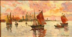 Art Moderne - DELANGE (XXème siècle) - Coucher de soleil sur la lagune, Huile sur toile signée