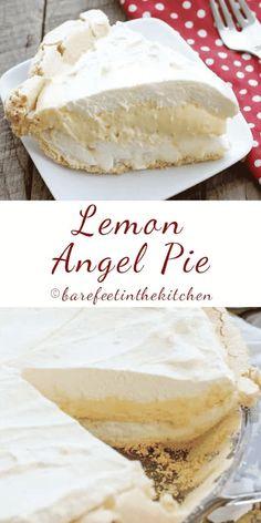 Lemon Angel Pie Beef Pies, Mince Pies, Lemon Angel Pie Recipe, Easy Lemon Pie, Barefeet In The Kitchen, Lemon Dessert Recipes, Cream Pie Recipes, Lemon Recipes, Cake Recipes