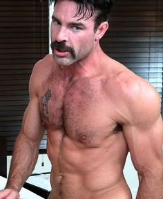 All about the stache Hairy Men, Bearded Men, Perfect Body Men, Sexy Military Men, Tatted Men, Muscle Hunks, Muscle Man, Really Hot Guys, Sexy Beard
