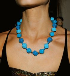 """""""Betty Rubble"""" Flintstones Vintage blue squared beaded necklace from the 1970s. On sale now for $20!"""