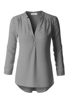 Gray Long Sleeve Chiffon Blouse
