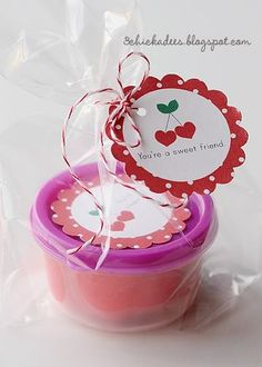 Cherry playdough valentine plus free printable