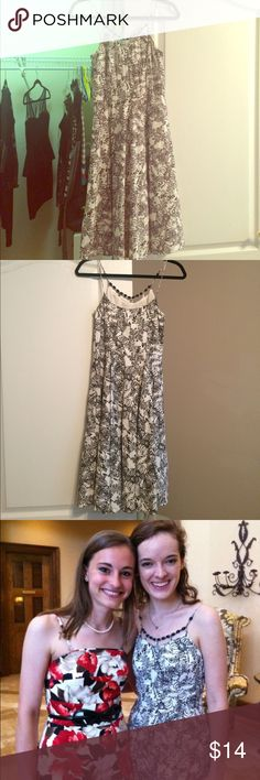 Ann Taylor Floral Beaded Top Dress This is dark brown and white Ann Taylor Loft dress that was worn once for a wedding. It's in perfect condition and feels amazing on. Ann Taylor Dresses