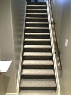 carpet and wood stairs closed stairs carpet and wood risers basement stairs ideas in carpet oak stairs Tile Stairs, Oak Stairs, Wooden Stairs, Basement Stairs, House Stairs, Basement Carpet, Hardwood Stairs, Metal Stairs, Basement Ideas
