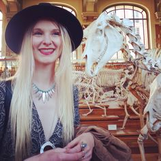 #Paris #galeriepaleontologie #squelette #anatomy #anatomie #naturalscience #boheme #boho #bohodress #bohojewelry #asos #hat #cabinetdecuriosités #curiosity #skeleton #mode #style #look #hippie #blondgirl #bohogirl