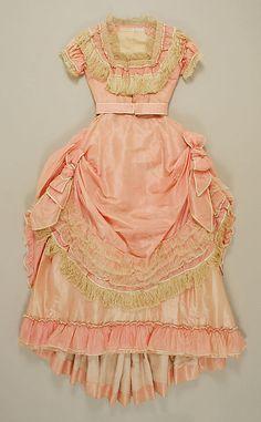 Ensemble, Evening    Date:      ca. 1870  Culture:      American  Medium:      (a, b) silk, cotton; (c, d) silk; (e,f) silk, leather, glass
