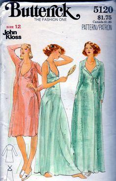 1970 S Butterick 5120 John Kloss DESIGNER Robe Nightgown Pattern Sz 12  416b3a1a3