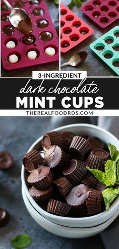 Dark chocolate and mint are a match made in heaven. You're going to love these 3-Ingredient Dark Chocolate Mint Cups made Paleo and Vegan friendly. Easy to make and oh, so delicious! || The Real Food Dietitians || Vegan Sweets, Healthy Dessert Recipes, Gluten Free Desserts, Dairy Free Recipes, Real Food Recipes, Vegan Recipes, Healthy Chocolate, Mint Chocolate, Chocolate Recipes