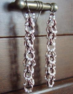 Neapolitan Copper Chainmaille Earrings by MajesticWovenMetals