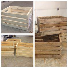 Antiquing wooden crates. DIY
