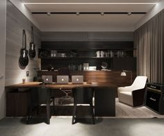 Desk in media room - Ukrainian bachelor pad