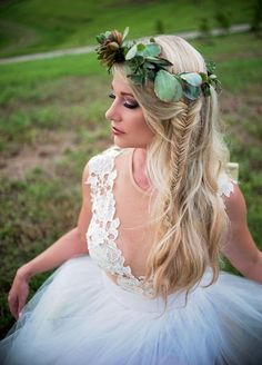 Boho Bride With A Succulent Crown And Fishtail Braid | Heather Lauren Photography on @artfullywed via @aislesociety