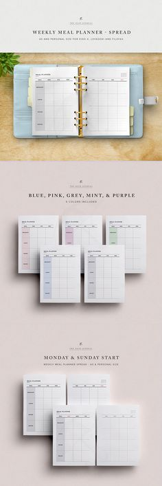 Weekly Meal Planner Printable - 2 Page Spread for A5 Filofax, Kikki k, Lovedoki and Personal Planner. Fitness Planner Insert, Fitness Plan #therainjournal #MealPlanner #Fitnessplanner #2018FitnessPlan #2018FitnessPlanner #FoodPlanner #WeeklyMealPlanner #HealthPlanner #MealPlan