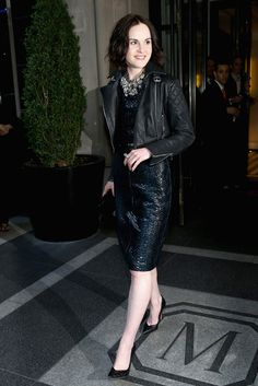 Michelle Dockery, in Burberry, departs the Mark Hotel for the 'PUNK: Chaos To Couture' Costume Institute Gala at the Metropolitan Museum of Art on May 6, 2013 in New York City. (Photo by Rob Kim)